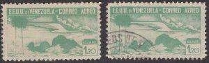 Venezuela 1937 1.20b Peacock Green. MNH and used pair. Scott C55, SG 478
