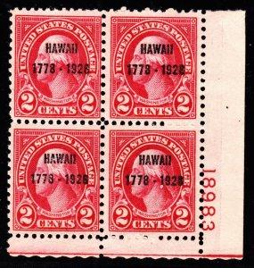 US 647 2c Hawaii Sesquicentennial Mint Plate Block of 4 #18983 Mint VF-XF OG NH