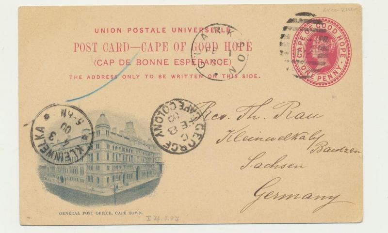 CAPE OF GOOD HOPE TO GERMAN 1900, CLARKSON TO SACHSEN,  GPO CAPE TOWN 1d CARD