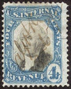 rs0052 U.S. Revenue Scott R106, 4-cent blue & black, manuscript cxl SCV = $125