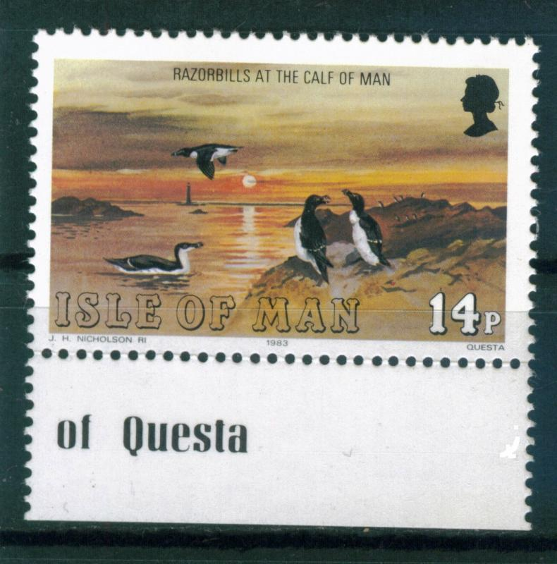Isle of Man 14p Razorbills issue of 1983,  Scott 232,  MNH,  Imprint Selvedge