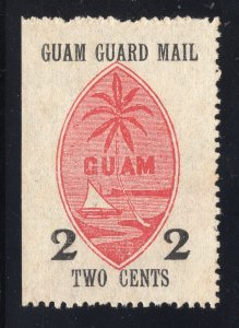 Guam# M4 2 Cents, Black & Red - Guam Guard Mail - Unused - N.G.A.I.