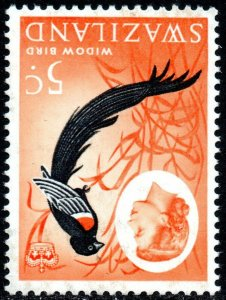 1962 Swaziland Sg 96w 5c black, red and orange-red Watermark Inverted UMM