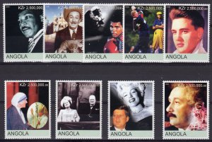 Angola 2000 Great People of 20th Cent.Kennedy/Churchill/Pope JPII/Space Set(9)