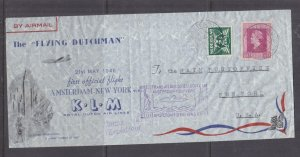 UNITED STATES, 1945 KLM Flying Dutchman First Flight Airmail cover to New York .