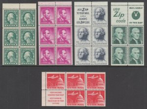 US Sc 498e/C64b MNH. 1917-1967 Booklet Panes, 5 different F-VF