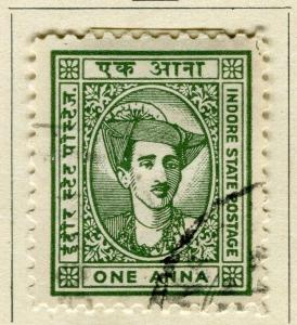 INDIA; INDORE-HOLKAR 1920s early local SERVICE issue used 1a. value