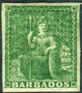 BARBADOS-1858 ½d Green.  A mounted mint example Sg 8