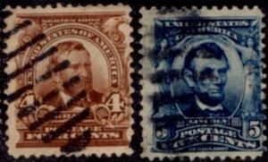 US Scott #303-304 - Regular Issue 1902-03 Perf 12 w/ #191 Water Mark CV~$5