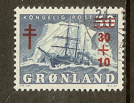 Greenland, Scott #B1; 30o + 10o  on 50o Polar Ship, Used