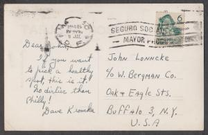 1946 Mexico post card to Buffalo, N.Y.