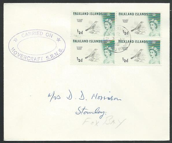 FALKLAND IS 1968 ½d Thrush block on cover CARRIED ON / HOVERCRAFT SRN6.....61437