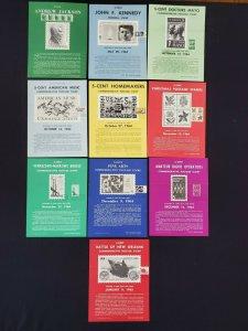 1963,64,65 Vintage USPS Bulletin Board Poster Folded w/ FDI Cancel Lot of 10