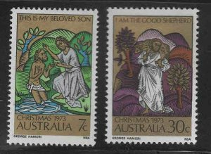 AUSTRALIA Scott 582-583 MH* 1973 Christmas set