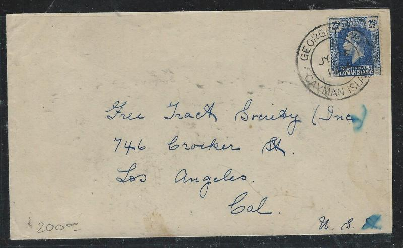 CAYMAN ISANDS (P1706B) 1934 KGV 2 1/2D COVER GEORGETOWN TO USA