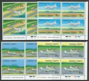 SAMOA 1973 Airport / Planes set plate blocks of 4 MNH......................51936