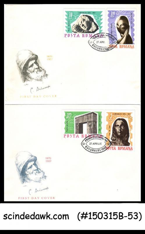 ROMANIA - 1967 10th ANNIVERSARY OF C. BRANCUSI (SCULPTOR) - 3V - FDC