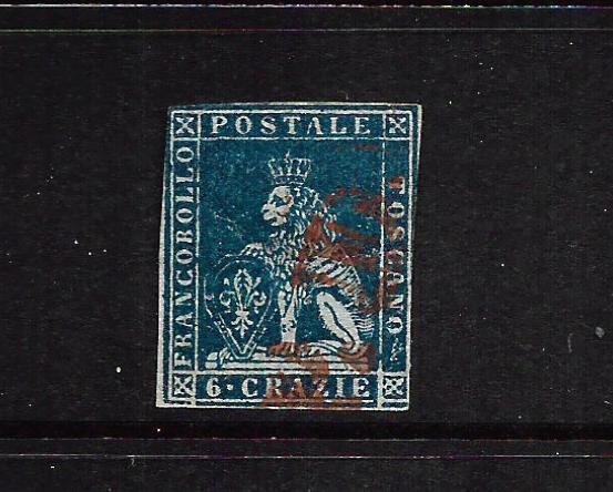 TUSCANY 1851-52  6c  DEEP BLUE  LION  FU     SG 16