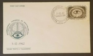 1962 Bangalore India Int'l Congress Ophthalmology Stamp First Day Optician Cover