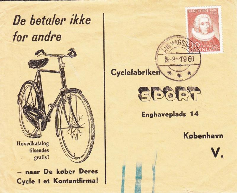 1960, Greenland to Denmark, Bicycle Advertising Cover (9421)