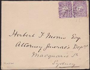 NEW SOUTH WALES 1889 cover numberal cancel 121 of HINTON to Sydney..........3701