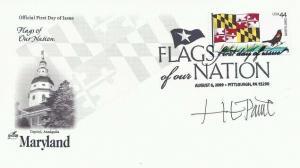 4296 44c MARYLAND FLAG - Signed by Stamp Designer H. E. Paine