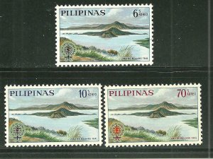 Philippines MNH 868-70 Volcano In Lake Teal