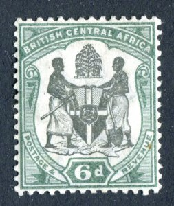 British Central Africa 1897. 6d black & green. Mint Hinged. SG46.