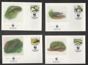 WWF AMERICAN CROCODILE: PANAMA, 4 FDC, (WORLD WIDE FUND FOR NATURE)