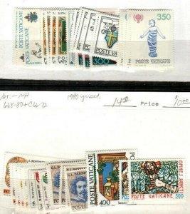 Vatican Scott 645-80,C66-72 Mint NH (1979 + 1980 Year Sets) - CV $23.00