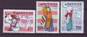 J22029 Jlstamps 1967 korea mh set #555-7 dancing