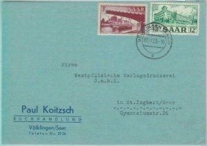 89361 - GERMANY Saar  - POSTAL HISTORY -  COVER from VOLKLINGEN  1953