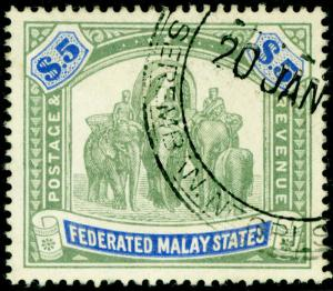 MALAYSIA - Straits Settlements SG50, $5 green & blue, FINE USED. Cat £130.