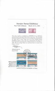Palau Interpex Stamp Exhibition 1983, First Issue w/First Day Cancel