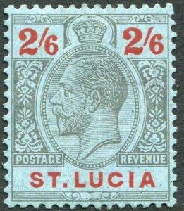 ST LUCIA-1924 2/6 Black & Red/Blue Sg 104 MOUNTED MINT V33912