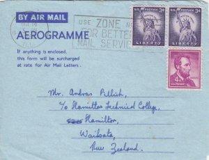 1960, Chicago, IL to Hamilton, New Zealand, Aerogramme, See Remark (33427)