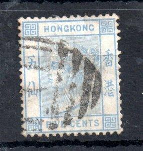 Hong Kong 1880 QV 5c blue WMK CC fine used SG#29 WS14341