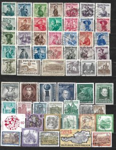 COLLECTION LOT OF 58 AUSTRIA 1947+ STAMPS