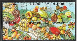 Colombia #C711 $25  Fruit  block of 6 ( MNH)  CV $24.00