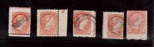 Canada #41 Five Used Rare Imprint Examples