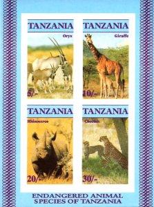 Tanzania IMPERF. 1986 Endangered Animals Wildlife 4v Mint S/S. (#01)