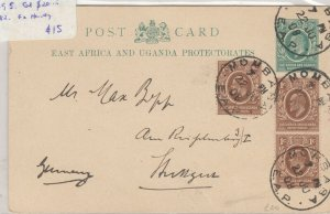 East Africa & Uganda 1908 Postcard To Germany Postal History J6052
