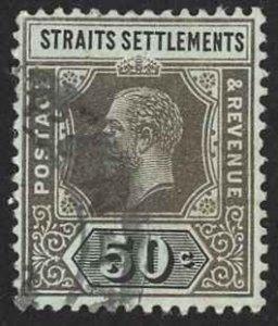 Straits Settlements Sc# 164 Used (a) 1914 50c black, green KGV