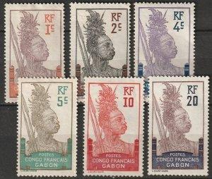 Gabon 1910 Sc 33-8 set low values MNG
