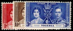NIGERIA SG46-48, COMPLETE SET, NH MINT. CORONATION.