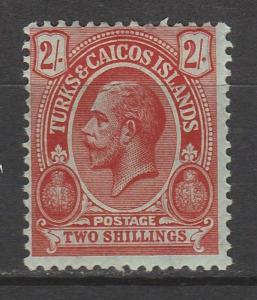 TURKS & CAICOS 1913 KGV CACTUS 2/-