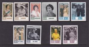 Commonwealth Islands x 5 Queen Mother pairs MNH