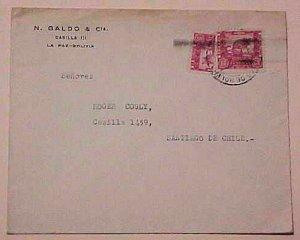 BOLIVIA  BISECT TIED LA PAZ 1944 B/S CHILE