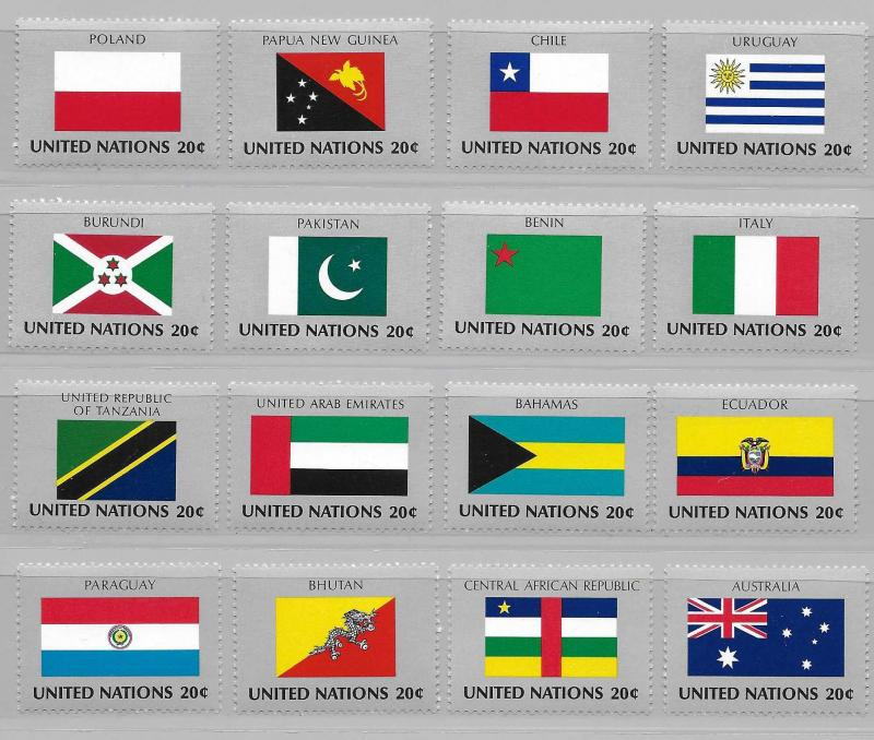 United Nations 425-40 Flags set MNH