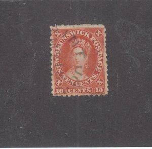 NEW BRUNSWICK # 9 VF-USED 10cts 1860 QN VICTORIA /VERMILION /CENTS ISSUE CV $75